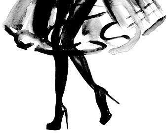 Fashion Wall Decor breezy: print of hand painted fashion illustration, dress painting