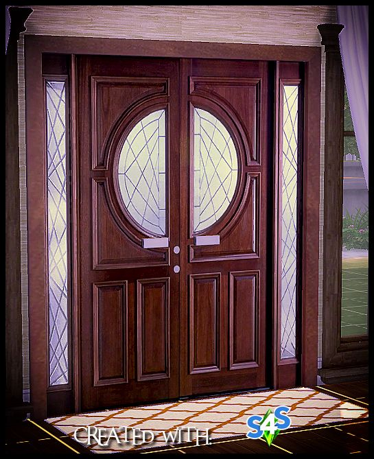 Sims 4 Designs: Simple Wooden Double Door | Sims | Sims 4