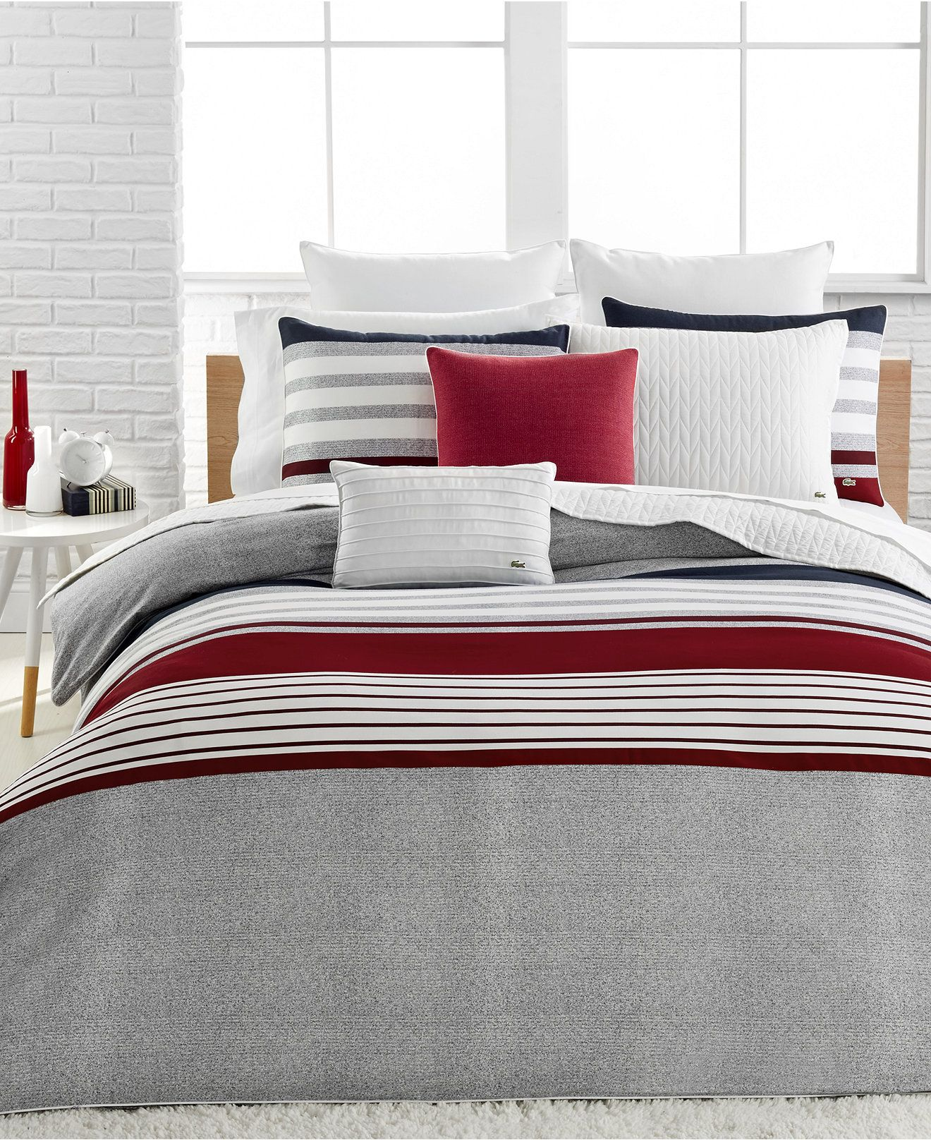 Lacoste Home Auckland Red Full/Queen Duvet Cover Set | Queen duvet ... : red and grey quilt - Adamdwight.com