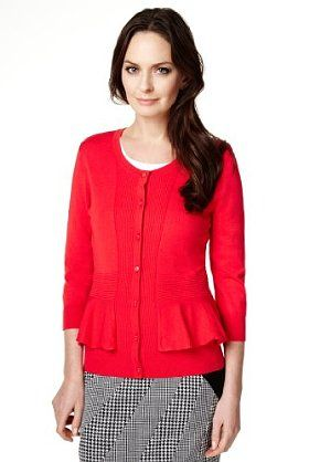 Keep warm in the colder months with this red Per Una 3/4 sleeve ribbed peplum cardigan.