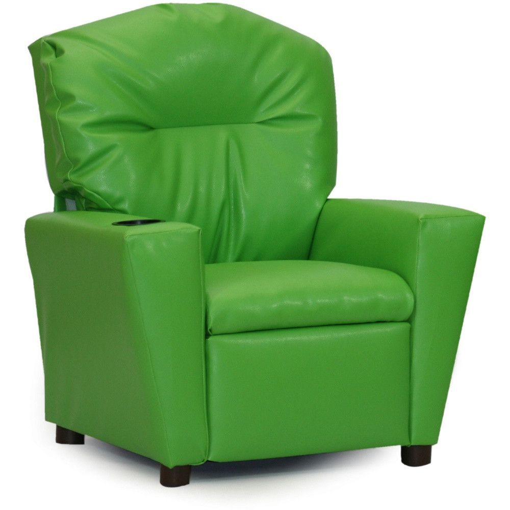Charmant Kids, Children, Toddlers Upholstered Vinyl Recliner Chair With Cup Holder
