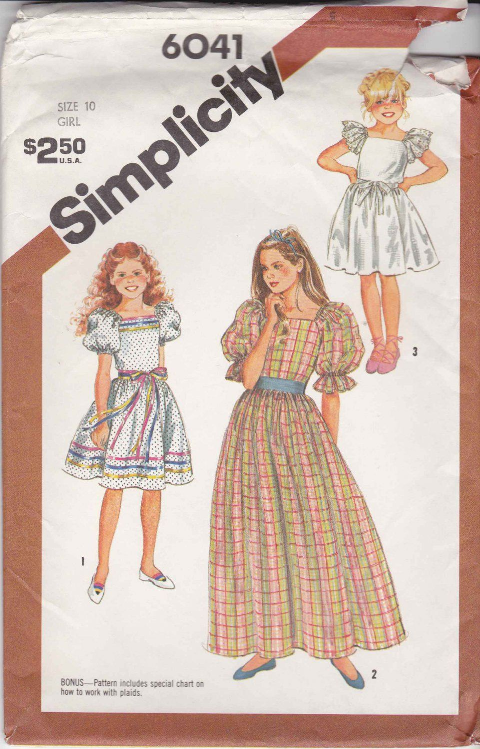 Simplicity sewing pattern 6041 girls size 10 pullover dress full simplicity sewing pattern 6041 girls size 10 pullover dress full skirt sleeve length options simplicity jeuxipadfo Gallery