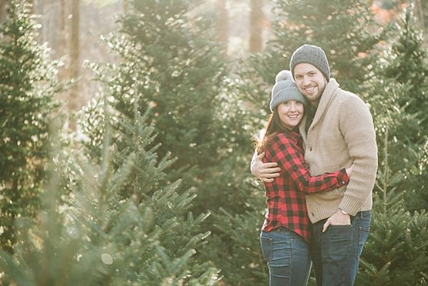 Charming Christmas Tree Farm Engagement Session Christmas Tree Farm Photos Christmas Couple Pictures Tree Farm Photo Shoot