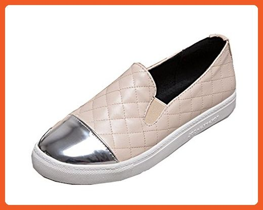 ece7567e8c9 Aisun Women s Trendy Checkered Slip on Flat Round Toe Low Top Platform  Comfy Loafers Skateboard Shoes (Beige