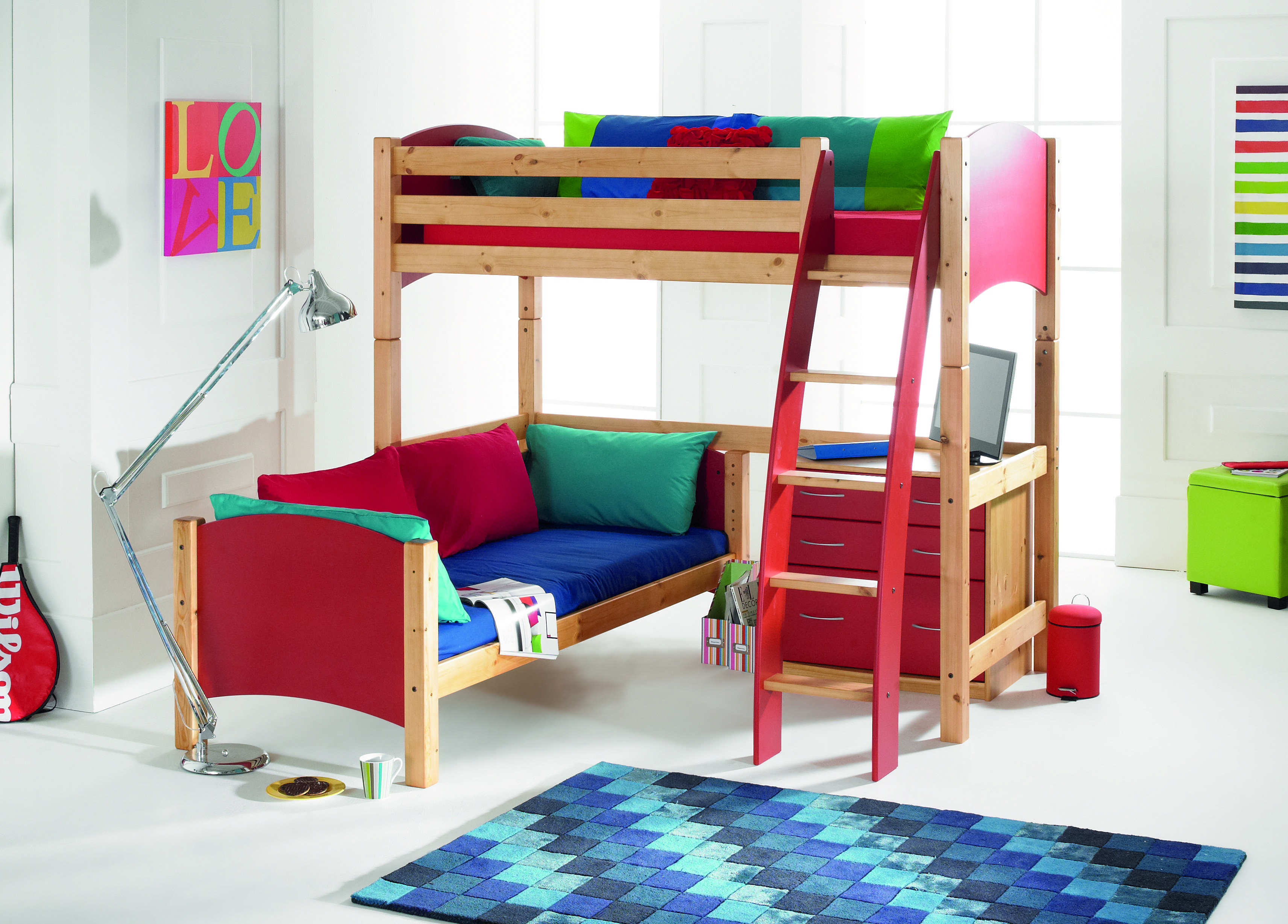 Scallywag High Sleeper Bed L Shape Bunk Bed Made In Uk 16 Colour