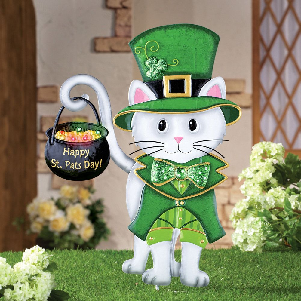 St. Patrick\'s Day Irish Cat Garden Stake | Discount Home Decor ...