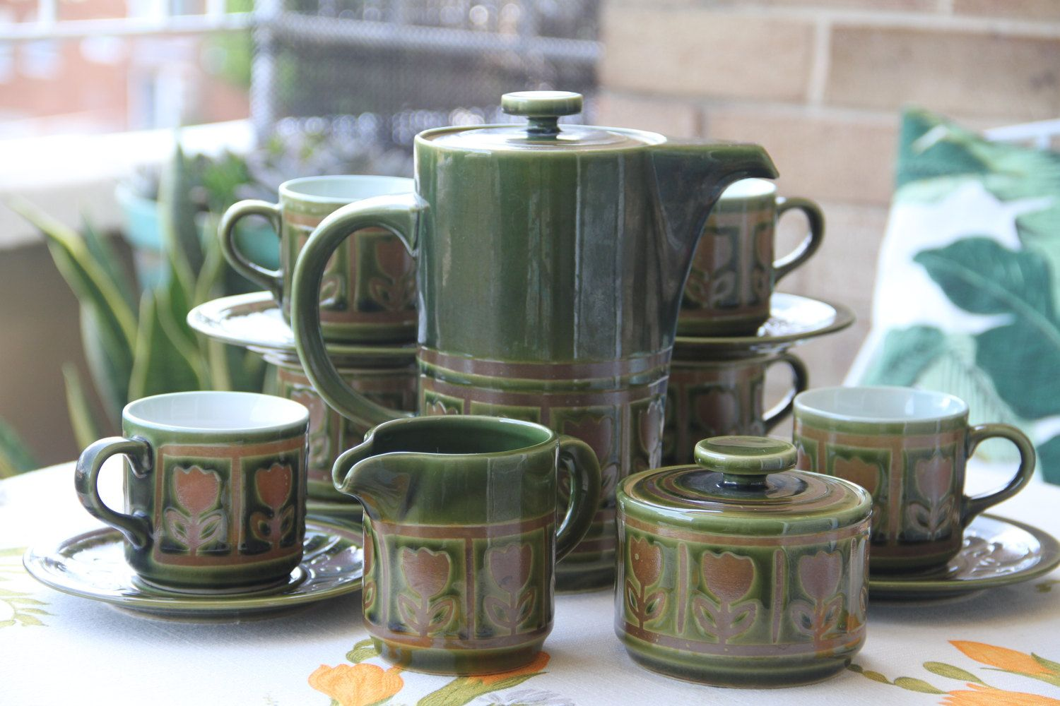 Vintage Retro Ceramic Made in Japan Coffee Pot Set  Green Glaze  with Tulip Pattern by VintageCollateral on Etsy