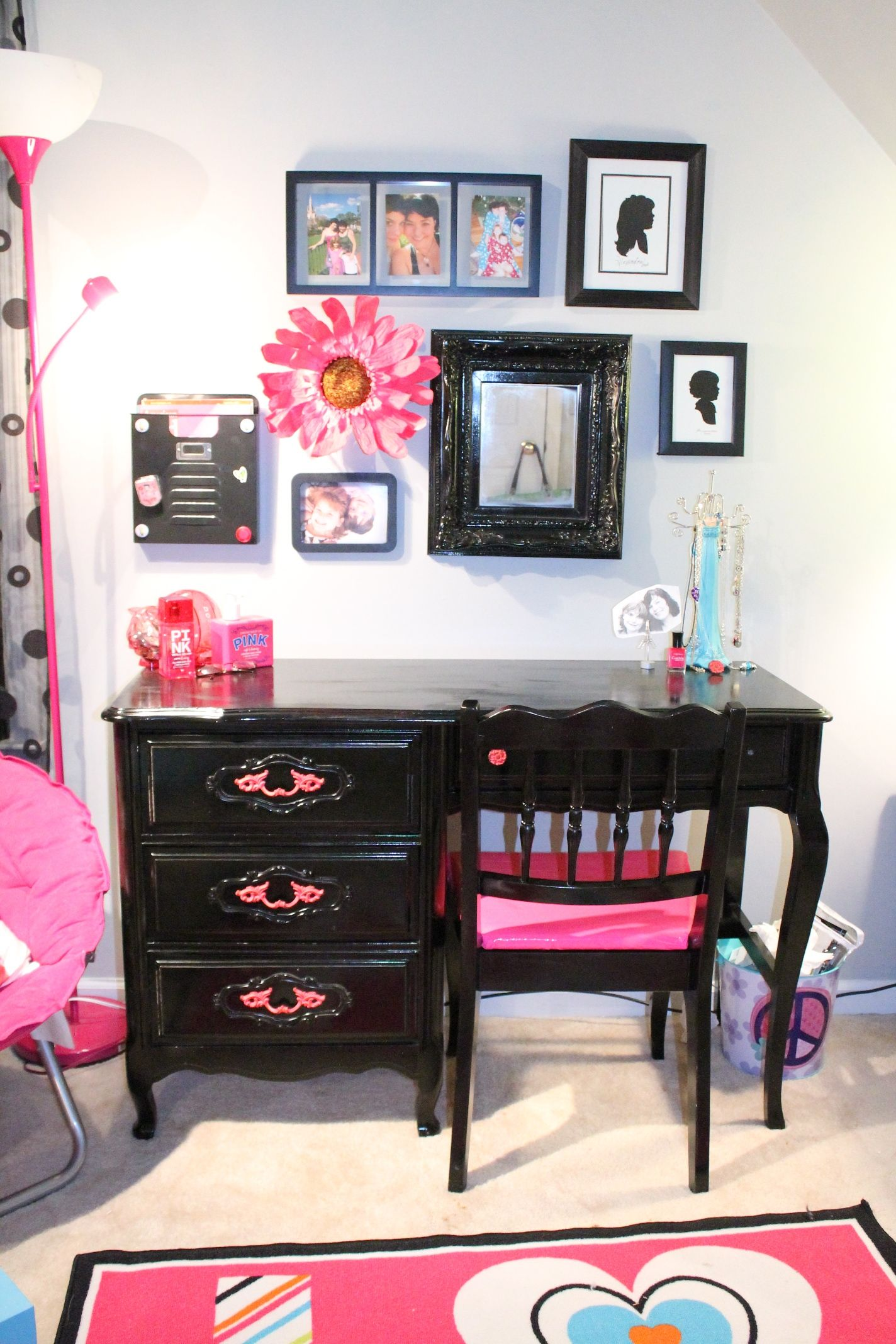 bine bold colors like black and pink with antique pieces like a