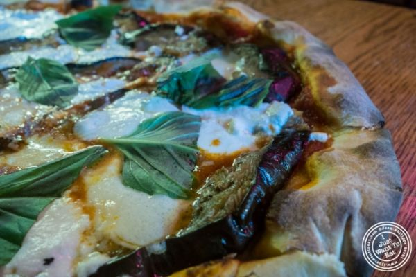 Eggplant pizza atSaluggi's pizza in TriBeCa, New York, NY
