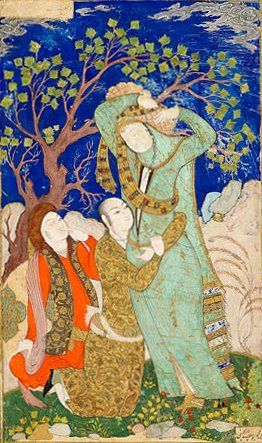 """The Morgan's collection of Islamic manuscripts was, in the words of curator William Voelkle, """"the offspring of a love affair"""" between Belle da Costa Greene and art critic Bernard Berenson.    This work depicting two lovers caught Belle's eye when she and Berenson visited an exhibition in Munich in 1910. The following year, she negotiated the purchase of this and many other Islamic works for Pierpont Morgan's collection."""