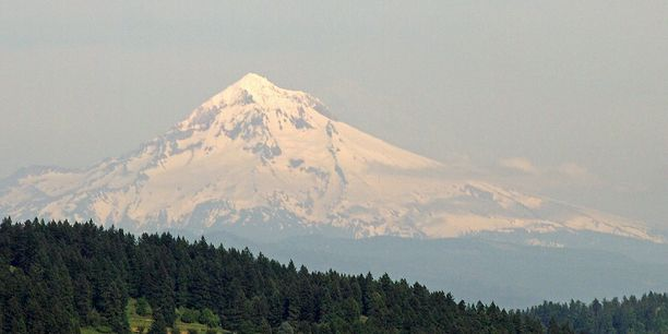 Mt Hood, Hood River County, Oregon — by Dennis L. Calhoun. Mt Hood as seen from just outside Portland.