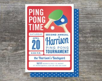 Table Tennis Invitation Ping Pong Digital Tennis Pinterest