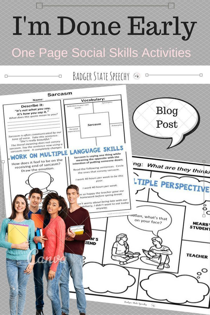 One Page Social Skills No Prep Activities For Middle And