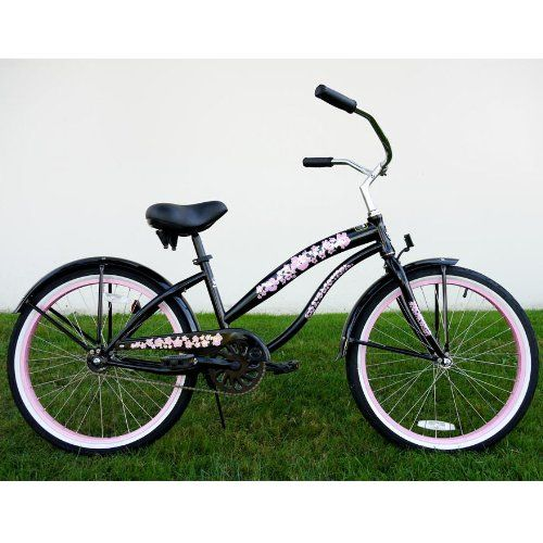 kids bikes u201cblack with pink wheels u201d ladies beach c beach cruiser rh pinterest com