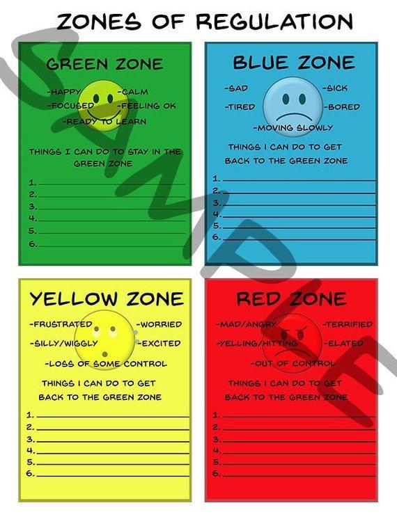 Zones Of Regulation Occupational Therapy Printable Autism Resource School Printable Feelings Zones Of Regulation Social Emotional Learning Self Regulation