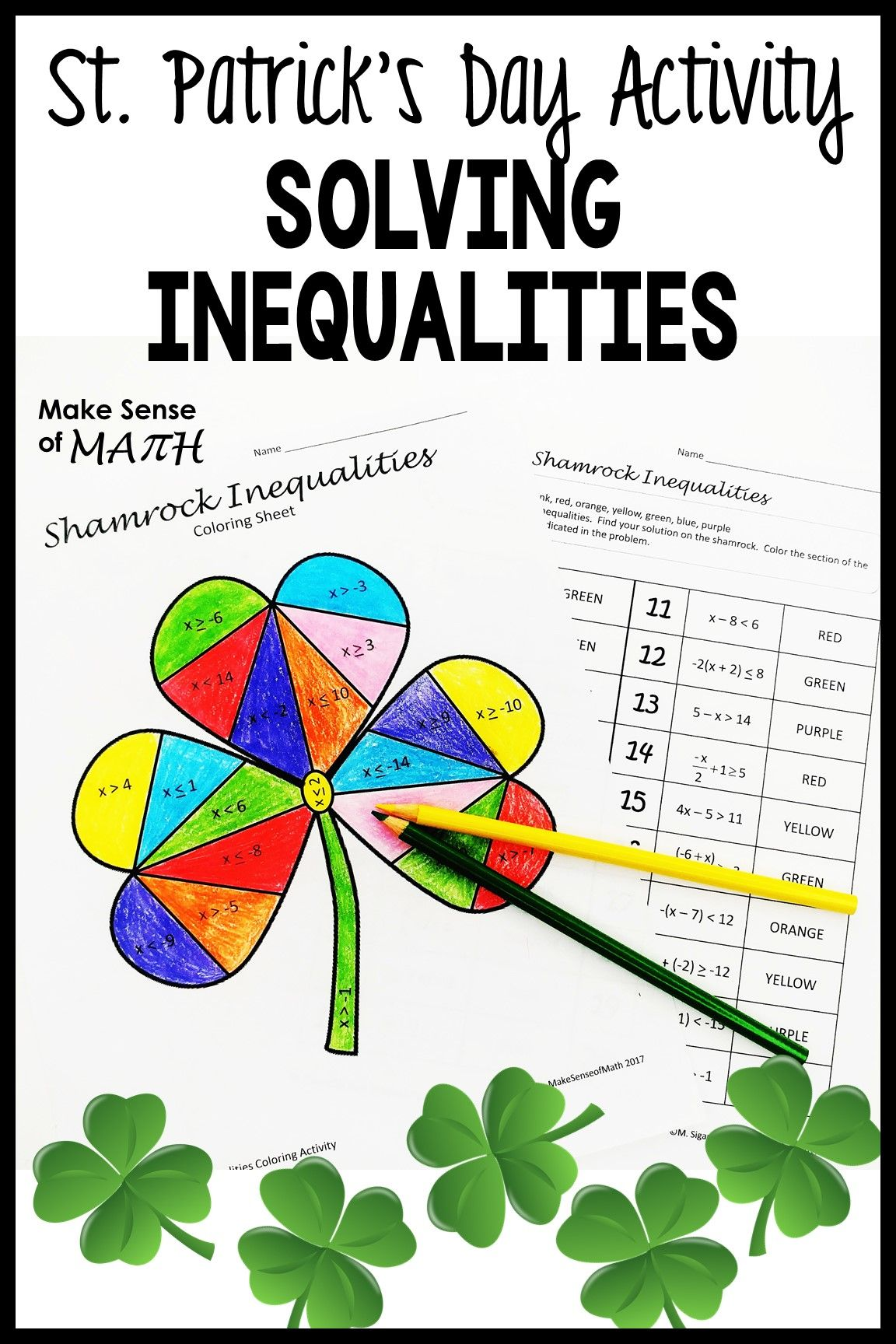 St. Patrick's Day Math Activity Solving Inequalities in