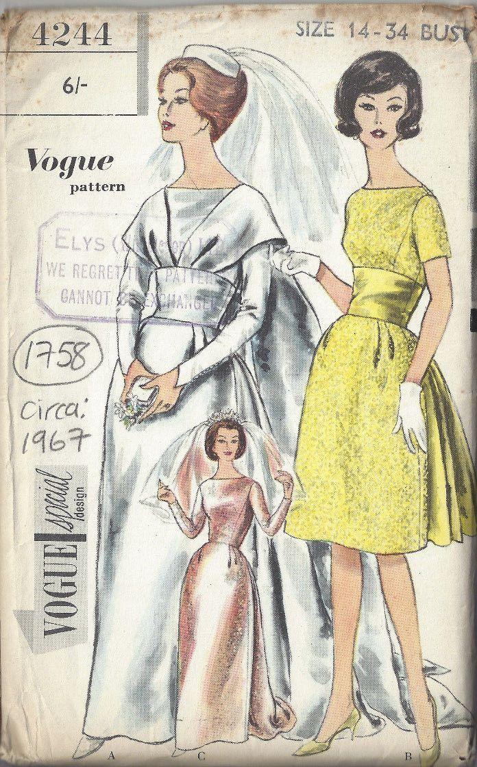 Details zu 1967 Vintage vogue-schnittmuster B34 Brides ...