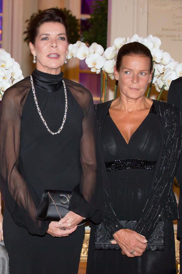 (R-L) Princess Stéphanie of Monaco with her sister Princess Caroline of Hanover attends the Gala Dinner at Hotel Hermitage on 04.10.13 in Monaco