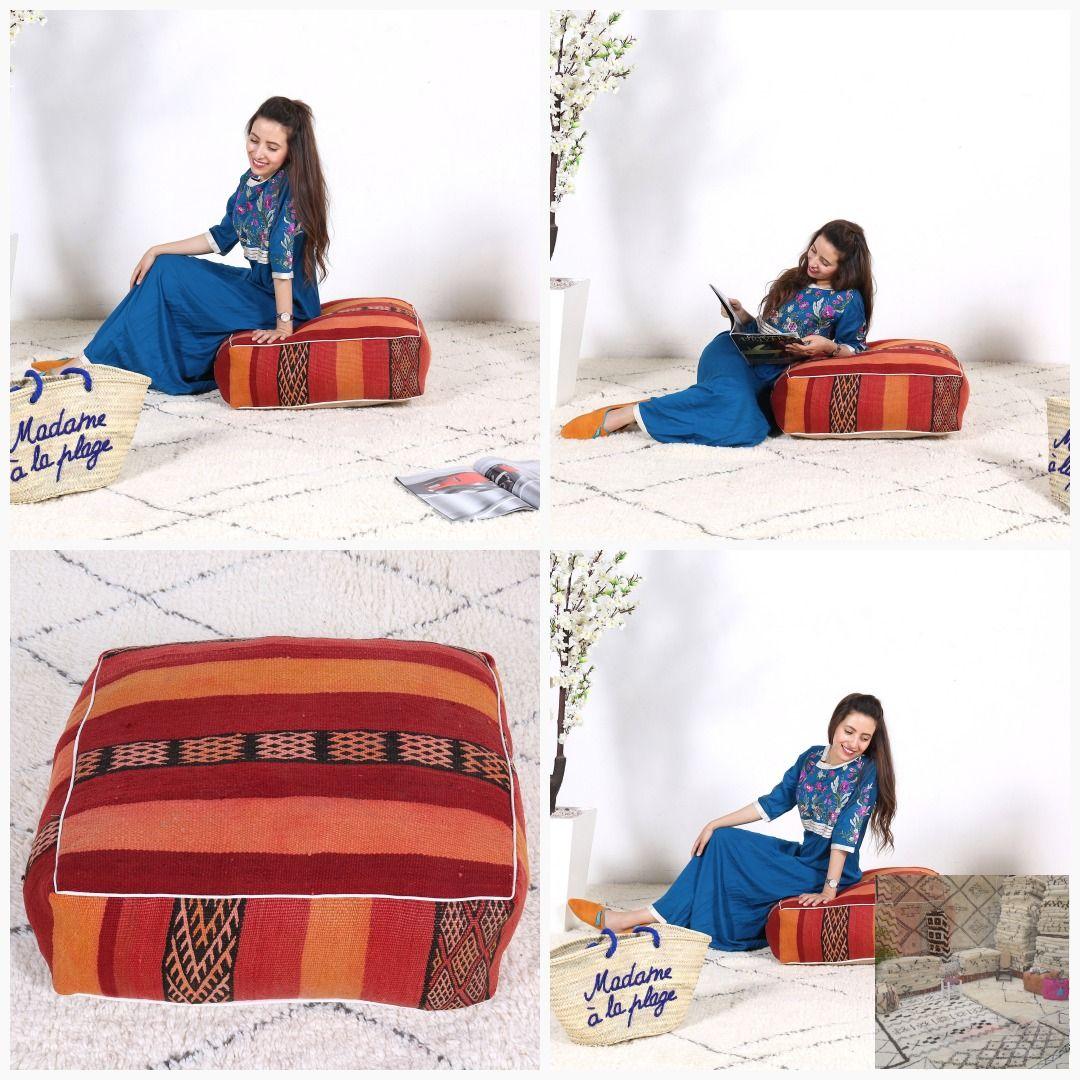 Moroccan Pouf Moroccan Kilim Pouf Moroccan Pillows Kilim Pouf