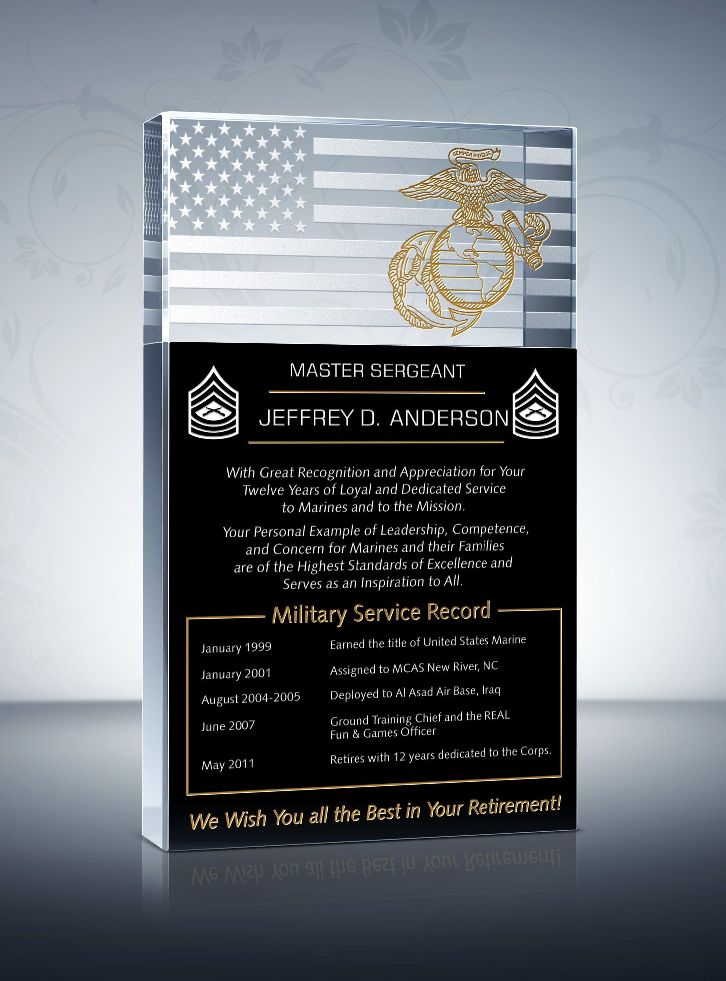 Marine corps retirement plaque and poem samples pinterest marine marine corps retirement is a special moment for any retiring marines and usmc officers the marine corps retirement ceremonies offer a unique way to thank spiritdancerdesigns Image collections