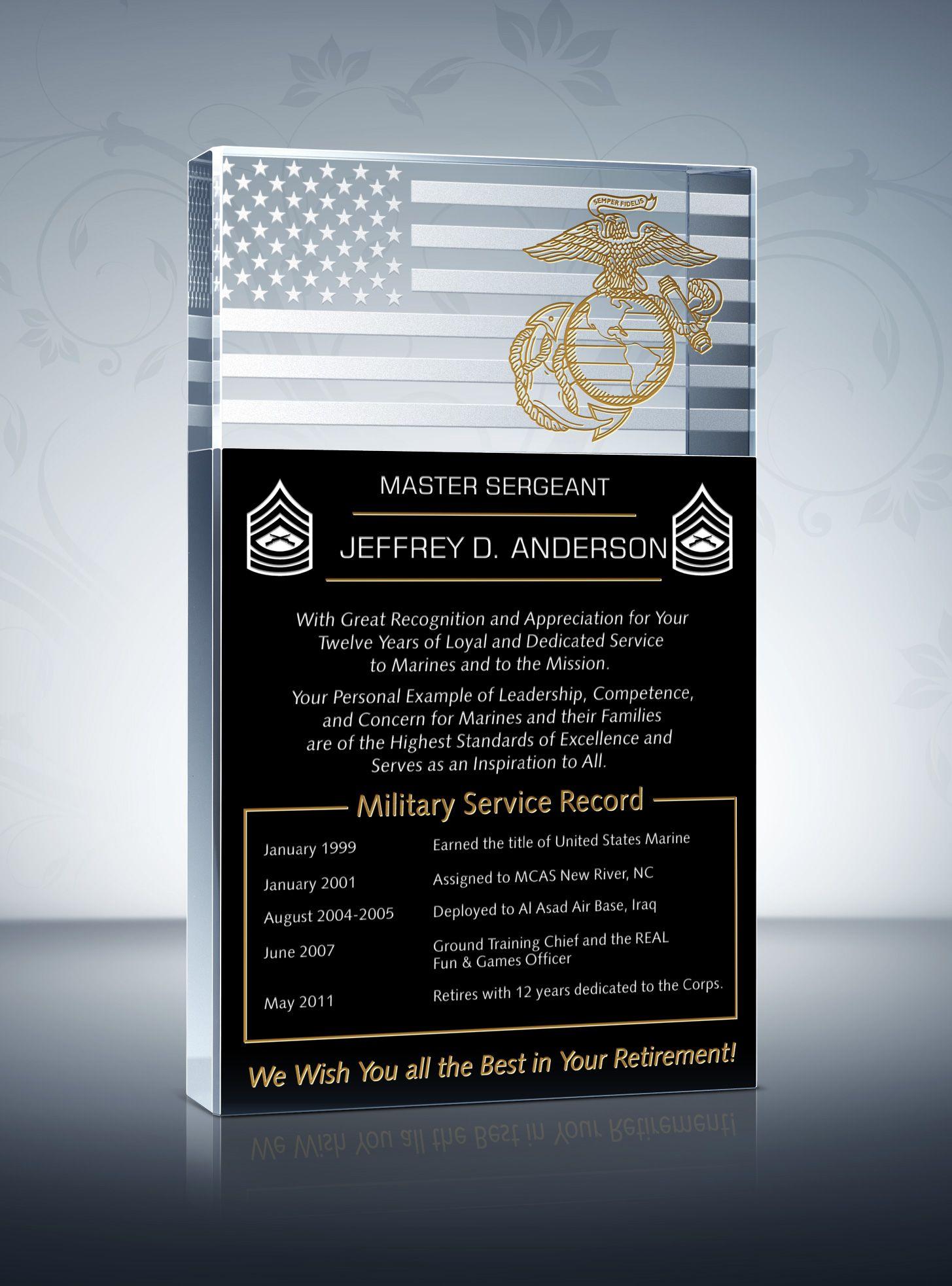 Marine Corps Retirement Plaque and Poem Samples | Retirement ...