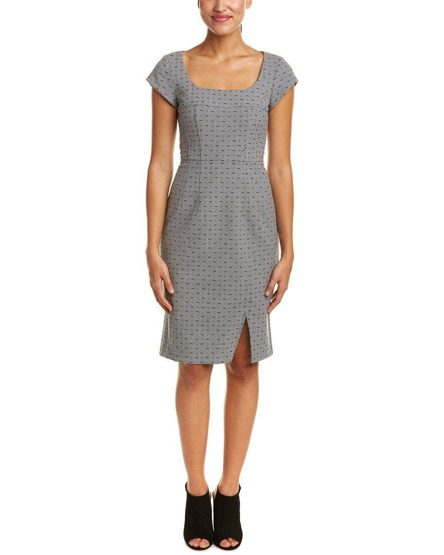 Nanette lepore womens jacquard sheath dress grey colorpattern