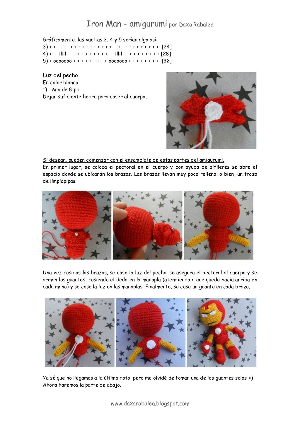 IRON MAN, DE GANCHILLO/CROCHET-PATRON 3/6 | 1 Amigurumi free pattern ...