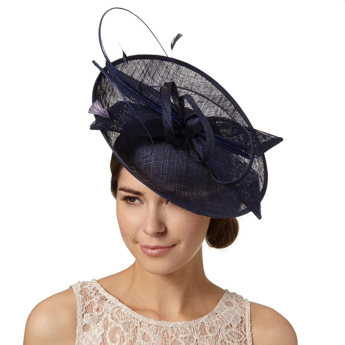 Designer navy dipped crown saucer fascinator http   picvpic.com women- 1a86649652a