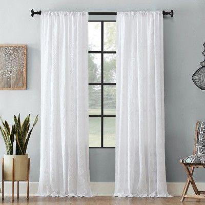 50 X95 Diamond Fray Cotton Curtain White Archaeo Cotton