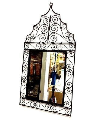 "Moroccan Wrought Forged Iron Wall Arabesque Mirror Design 39"" x 19 """