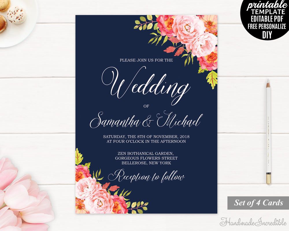 Navy And Pink Wedding Invitation Set Printable Wedding Invitation Set Floral W Printable Wedding Invitations Wedding Invitations Wedding Invitation Templates