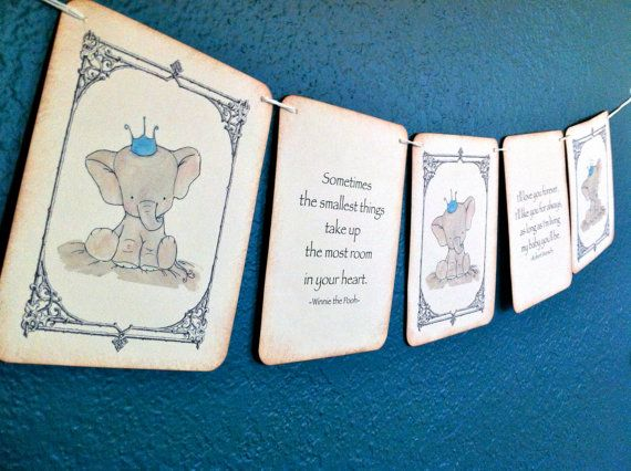 Vintage Baby Shower Banner - Baby Elephant Blue - Crown - Baby Boy - Nursery Decor - Vintage Baby shower - Sometimes the smallest