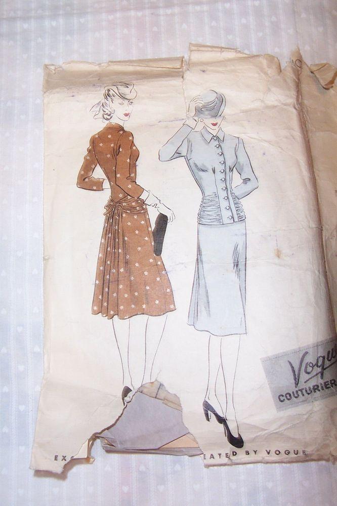 Vintage, Vogue Couturier Design, Ladies Dress Pattern, No. 379, Size ...