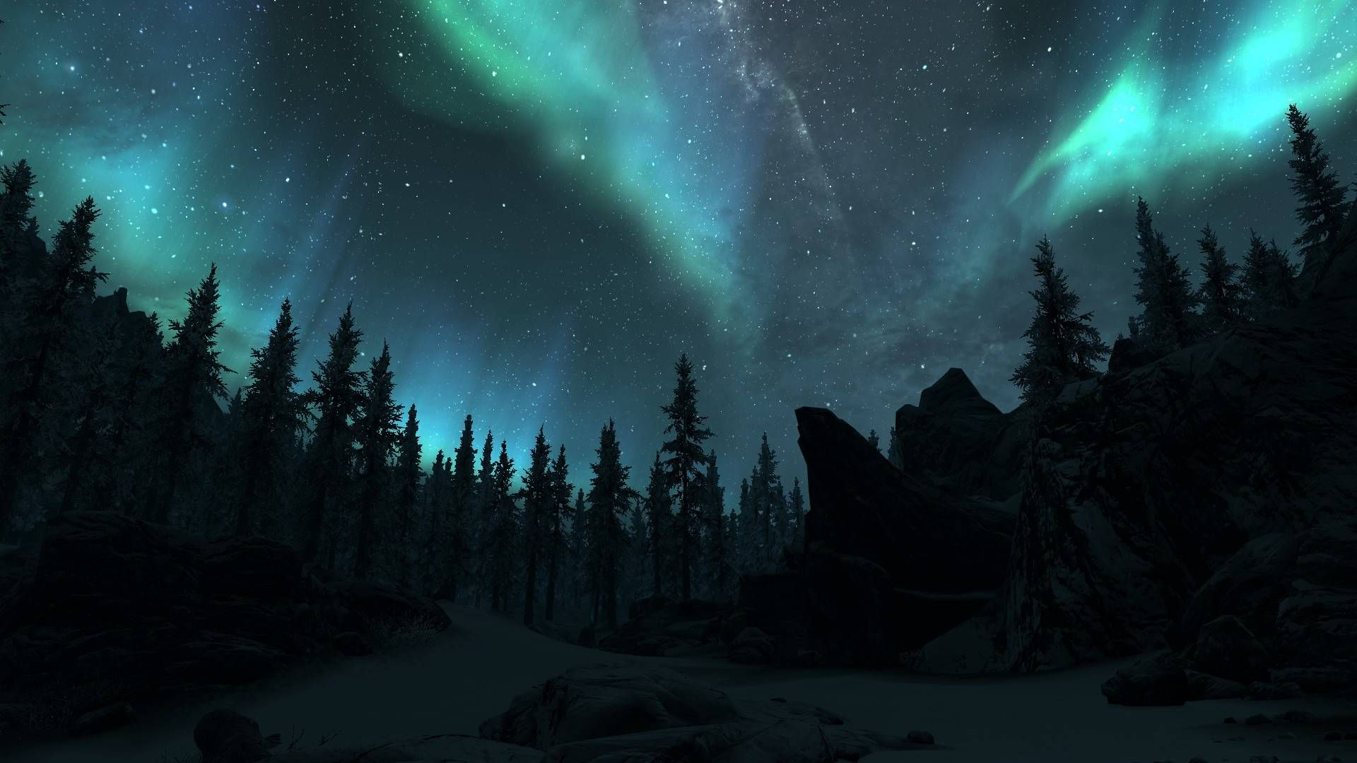 Pin By Delaney Flatford On The Odyssey Northern Lights Wallpaper Skyrim Wallpaper Landscape Wallpaper