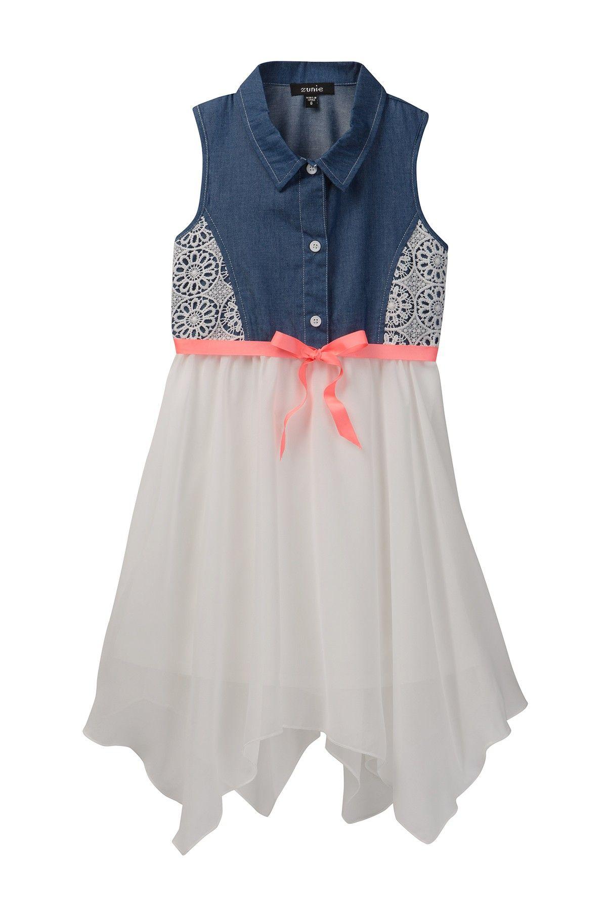 f48547215bbc Zunie | Sleeveles Chambray Lace Dress (Big Girls) | Nordstrom Rack ...