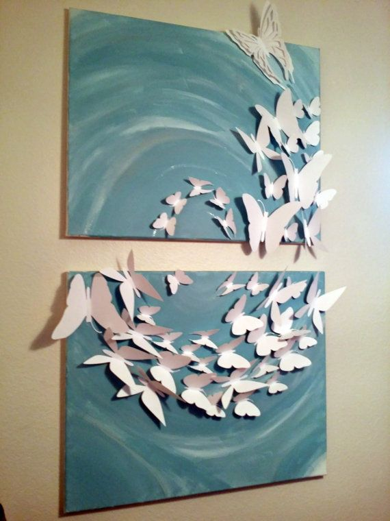 3D Madam Butterfly flutterby Set of 2 [24x36] painted Canvas