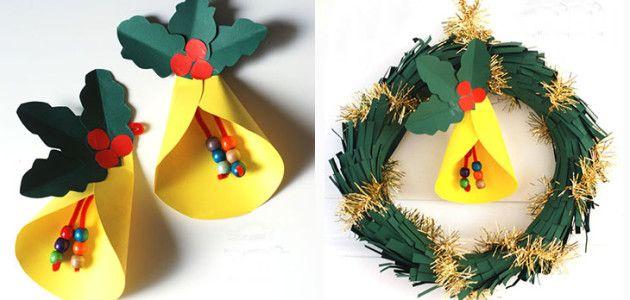 Manualidades con ninos corona de papel con campana para - Manualidades navidad para ninos ...