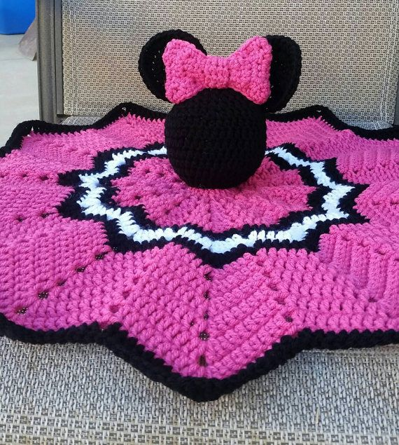Crochet Minnie Mouse Lovely/Security Blanket | Pinterest
