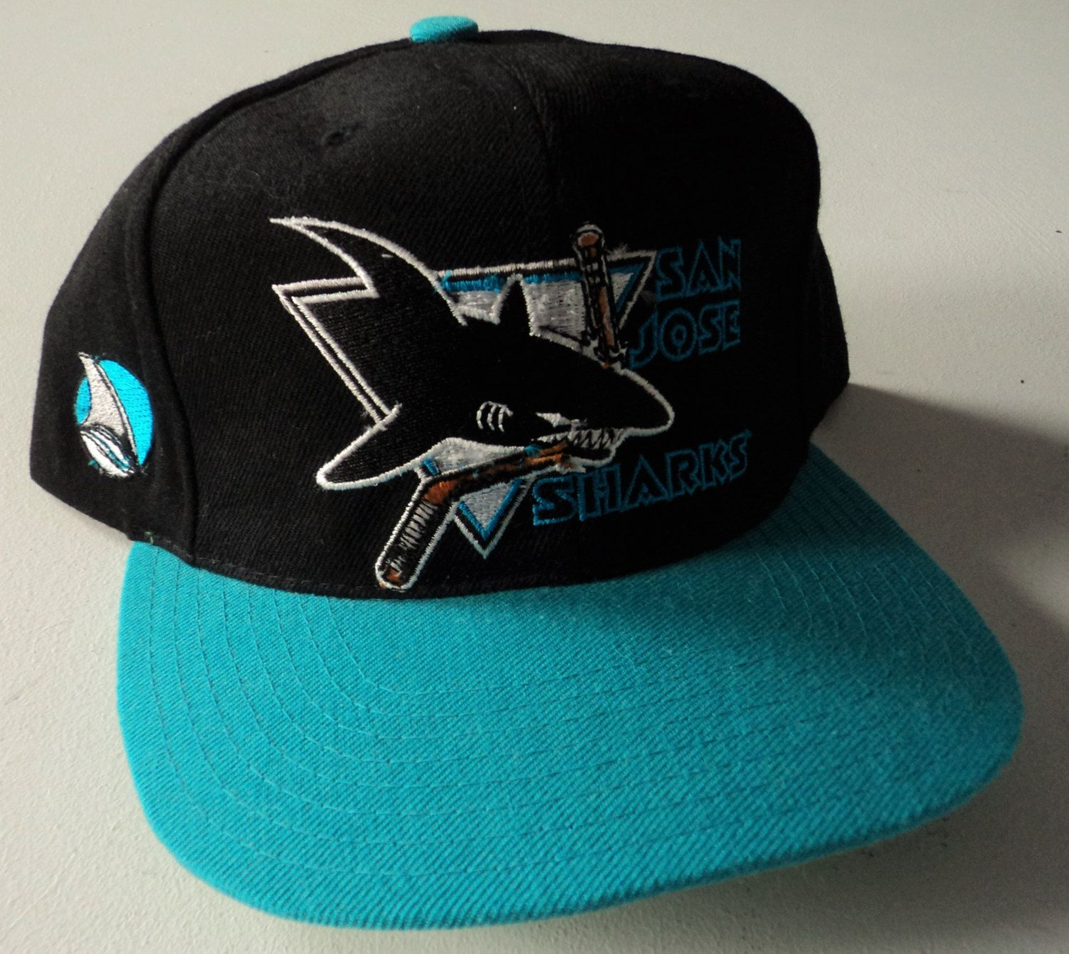 142f44aac2e Vintage San Jose Sharks American Needle Blockhead Snapback Hat NHL VTG by  StreetwearAndVintage on Etsy