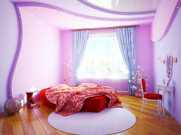 purple color schemes for teen girls bedroom with pop false ceiling and wooden floor ideas - Girls Bedroom Color