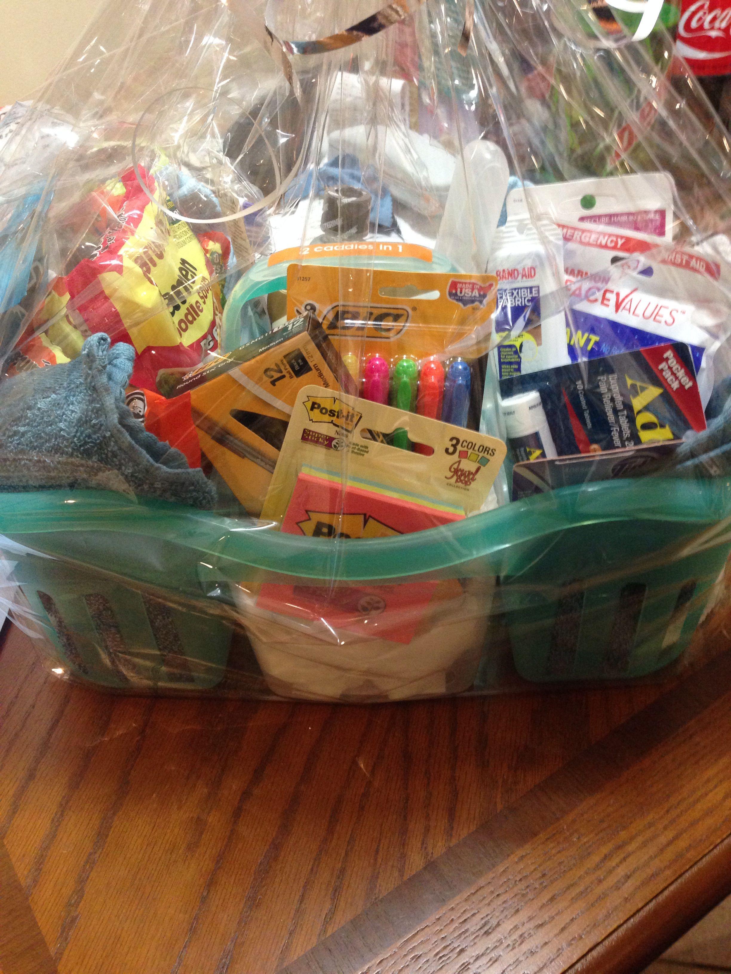 High school graduation gift basket shower caddy with