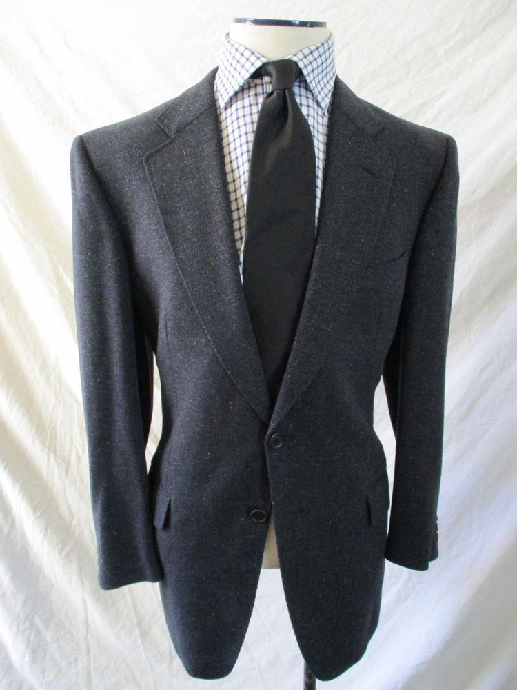e51f98fb ZEGNA SOFT Ermenegildo black blue speckle wool blazer coat jacket 56 ...