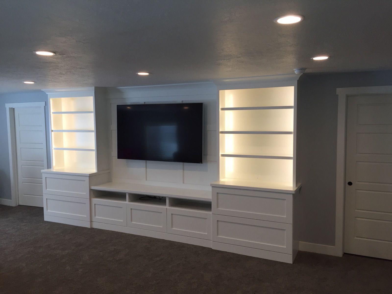 White Shaker Entertainment Center With Batten Board Tv