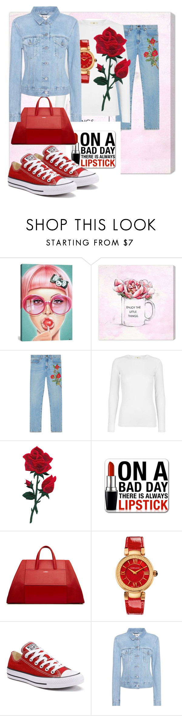 """""""Untitled #155"""" by dancininvictory ❤ liked on Polyvore featuring iCanvas, Oliver Gal Artist Co., Gucci, Versace, Converse and Acne Studios"""