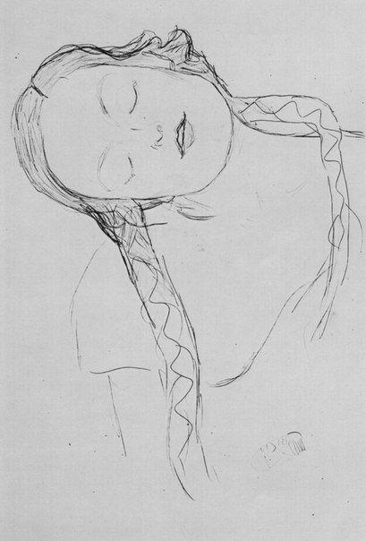 Schlafendes Mädchen mit langen Zöpfen, den Kopf nach links geneigt( Sleeping Girl with Long Braids ) - Gustave Klimt  1917-18