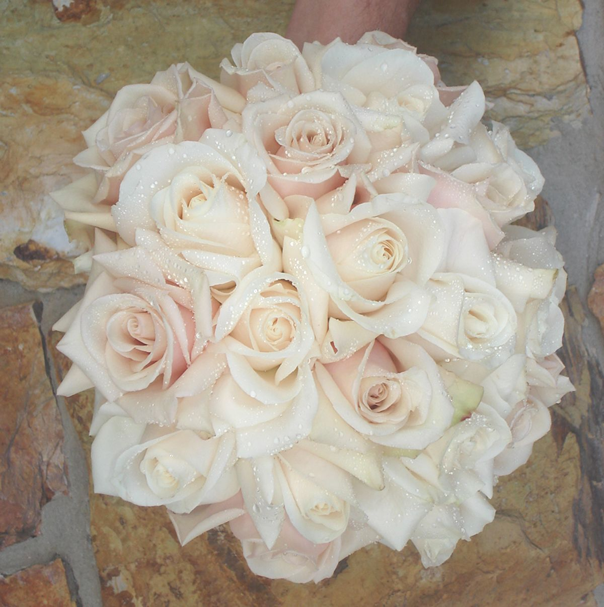 White && Blush Wedding Bouquet -- add some jewels to it and it's perfect!!