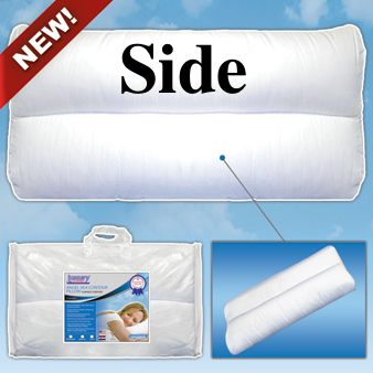 the side sleeper pillow features three sizes to choose from 3 4 6 inch thick support the proper size pillow to fit inside the curve of your neck