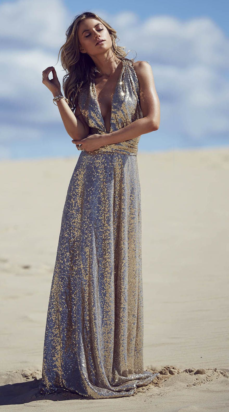30bea43df69 This gold champagne dress is out of this world gorgeous!