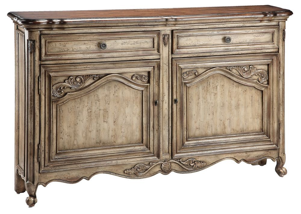 Distressed Narrow Rustic Country Cottage Server Sideboard Buffet Dining Room