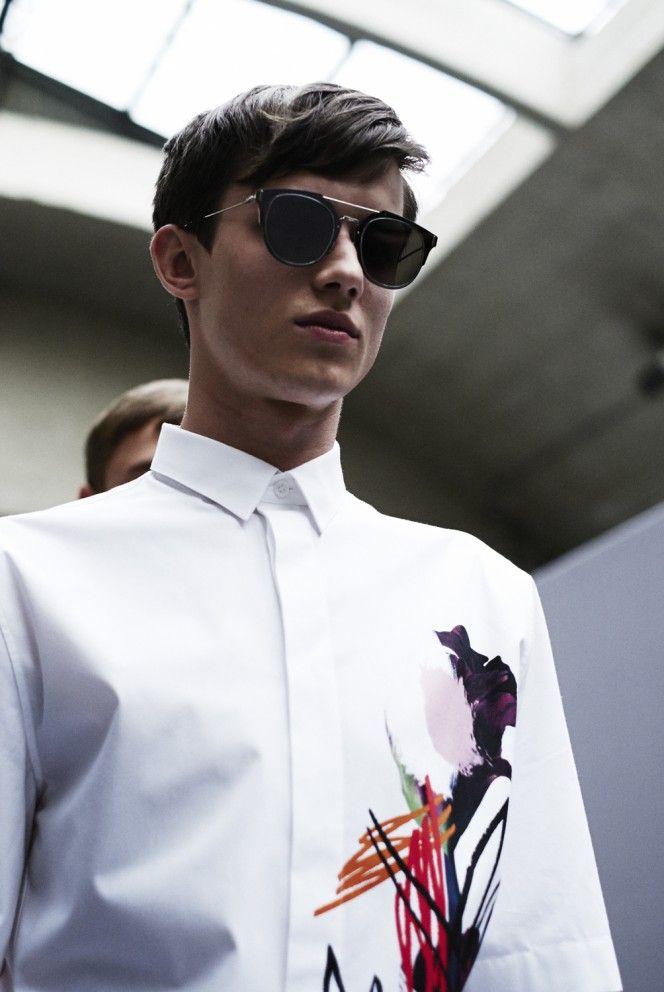 d80649020255 Dior Homme - Kris van Assche S S 2015 White shirt floral detail ...